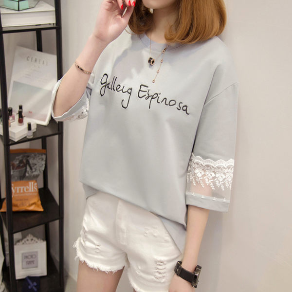 DE SHOP~(T-8710)簡約半袖寬鬆蕾絲七分袖短袖T恤
