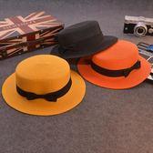 夏天防曬草帽女韓版平頂小禮帽子草帽