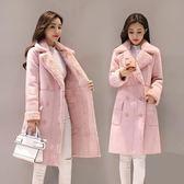 皮草 麂皮絨大衣外套皮毛一體中長款寬松顯瘦加絨加厚棉衣棉服 巴黎春天