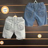 ☆棒棒糖童裝☆(B632602)夏男童女童鬆緊腰口袋圖騰牛仔中褲 5-15