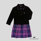 拼接格紋風衣裙襬羅馬布七分袖洋裝 Scottish House【AB3106】