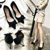 高跟鞋 春季單鞋女蝴蝶結女鞋尖頭鞋高跟鞋女秋百搭淺口細跟鞋子 曼慕衣櫃