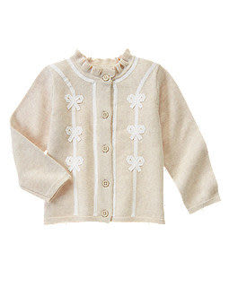 GYMBOREE長袖外套  白色蝴蝶結設計米色長袖外套