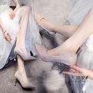 細跟高跟鞋 婚鞋女2021新款新娘婚紗鞋亮片禮服高跟鞋細跟伴娘結婚鞋子水晶鞋 交換禮物