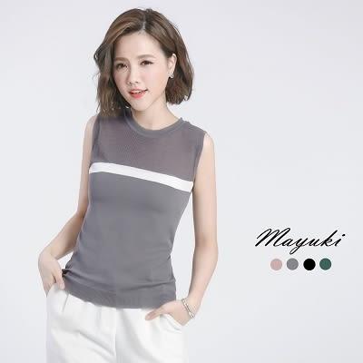 東京著衣-鏤空織紋配色無袖針織上衣-S.M(6017473)