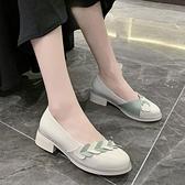 娃娃鞋 單鞋女中跟2021年夏季新款淺口鞋粗跟軟底時尚百搭圓頭娃娃鞋 小衣里大購物