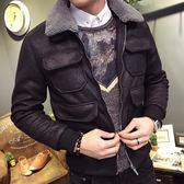 羽絨外套 冬季麂皮絨羊羔毛領修身型男士棉衣外套正韓英倫帥氣潮流青年棉襖