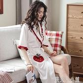 睡袍女夏季純棉薄款繫帶可愛浴袍短袖長款日式性感浴衣晨袍單睡衣「錢夫人小鋪」