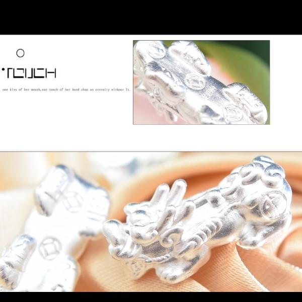 銀鏡DIY S999純銀材料配件/3D硬銀福字招財咬錢貔貅墜/隔珠C款(XL)~適合手作蠶絲蠟線/幸運衝浪繩