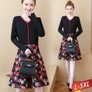 V紅線緞領櫻花印洋裝L~5XL【3599...