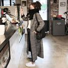 喬依  韓版 長板 格子大衣 寬鬆  復古 大衣外套【 L94】