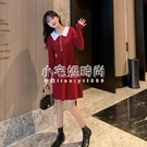 秋冬新款韓版女裝純色拼色長袖針織洋裝   【全館免運】