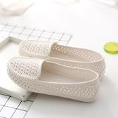 【YPRA】夏季女款洞洞鏤空女鞋塑料白色涼鞋防滑平底護士鞋孕婦媽媽鞋舒適