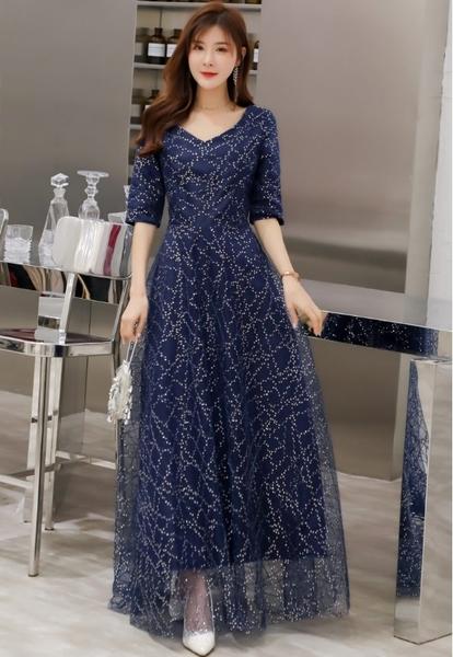 中大尺碼洋裝 M-4XL小禮服韓版V領網紗亮片長版連衣裙 藍色 #gk6606 @卡樂@
