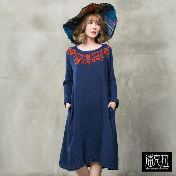 手工立體花朵刺繡洋裝(藍色)-F【潘克拉】