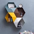 北歐牆面裝飾掛件鐵藝掛牆架牆上立體六邊形...