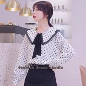依多多 襯衫 雪紡襯衫設計感小眾秋季新款娃娃衫韓版心機波點上衣