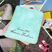 2018年新款韓版兩折短款錢包女士卡包磨砂復古軟面學生迷你小錢包【叢林之家】