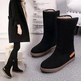 雪靴  平底防水防滑韓版中筒靴子女冬季加絨加厚棉鞋