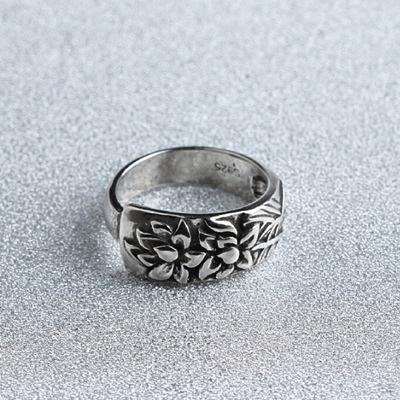 戒指 925純銀 花朵-大花寬面生日情人節禮物女開口戒73gp23【時尚巴黎】