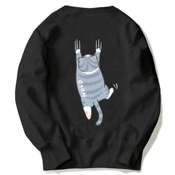 現貨速達 大學T 圓領刷毛T恤 MIT台灣製【YS0886-6】萌寵-HOLD貓 我要爬上去 力爭上游 上流