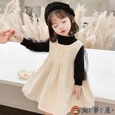 女童條絨背帶裙秋裝裙子兒童背帶裙兩件套【淘夢屋】