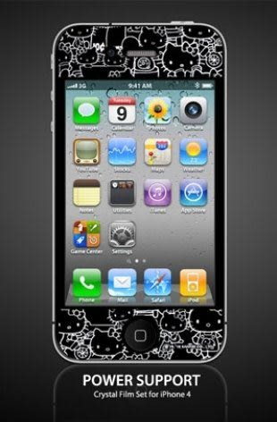 【漢博商城】POWER SUPPORT iPhone 4/4S 專用 Hello Kitty 亮面保護膜(KT2)