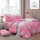 床包被套組 四件式雙人兩用被特大床包組/克莉斯朵粉/美國棉授權品牌[鴻宇]台灣製2017