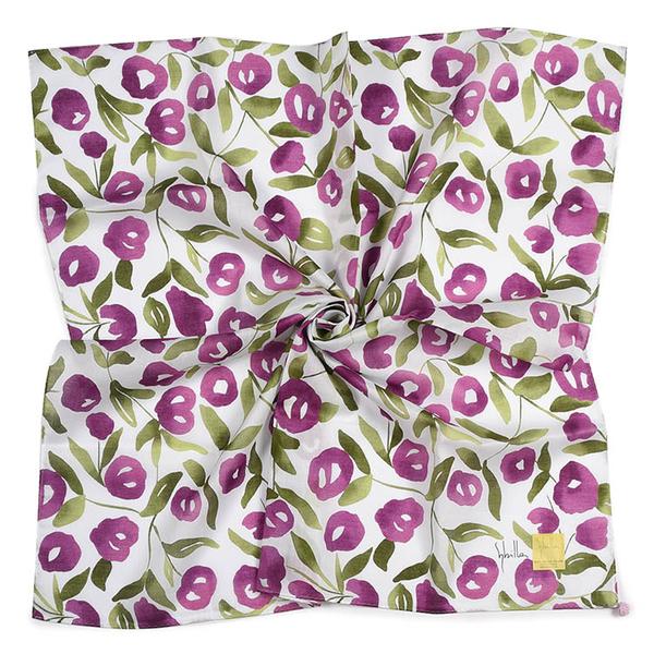 Sybilla棉花圖案純綿帕領巾(紫色)989164-97