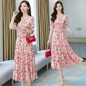 短袖洋裝輕熟風夏季女裝新款高腰連身裙雪紡松緊腰過膝長裙氣質女人味碎花裙T105依佳衣