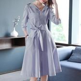 洋裝 OL氣質條紋女裝襯衫裙收腰V領連身裙 降價兩天