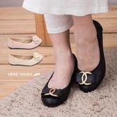 [Here Shoes]3色 素雅小香風金屬綴飾蝴蝶結平底鞋 豆豆鞋 娃娃鞋 舒適好穿 ◆MIT台灣製─AB116