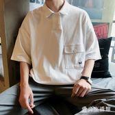 寬鬆翻領polo衫韓版潮流學生百搭短袖t恤港風夏裝半袖時尚百搭上衣 LJ471『愛尚生活館』