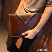 潮流新款韓版男女包信封包手拿包復古文件包公文包潮男女手包『艾麗花園』
