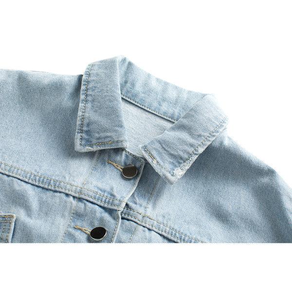 (N-2813)韓款後緞面交叉綁帶短版牛仔外套(共2色)