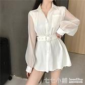 女秋裝2019年新款寬鬆系帶收腰翻領拼接透視中長款長袖襯衫上衣服