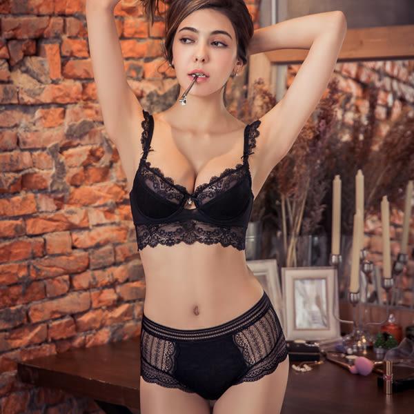內褲 Ladoore 睡美人 完美中高腰無痕蕾絲小褲(黑)