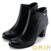 ORIN 經典復古 側後壓紋牛皮粗高跟短靴-黑色