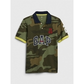 Gap男童時尚撞色徽標短袖POLO衫539252-綠色迷彩
