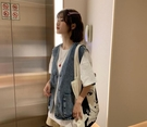馬甲 牛仔馬甲背心外套女夏季新款寬鬆外穿韓版小個子工裝無袖上衣 【全館免運】