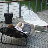 戶外躺椅陽台休閒藤椅室外庭院防水防曬躺床別墅游泳池藤編沙灘椅 MKS 卡洛琳