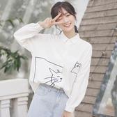 新款春秋學院POLO衫寬鬆貓咪翻領白襯衫女長袖打底上衣 快速出貨