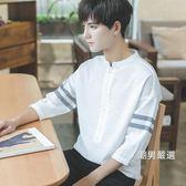 一件免運-七分袖T恤夏裝季帥氣個性韓版寬鬆半7七分袖短袖T恤男學生潮流襯衫上衣M-XL4色