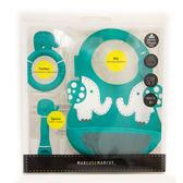 加拿大 Marcus & Marcus 動物樂園矽膠哺育禮盒(圍兜/固齒器/湯匙) 大象