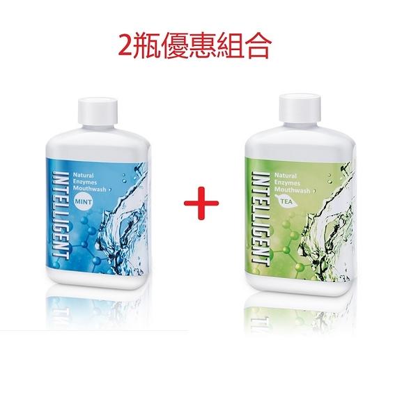 INTELLIGENT 因特力淨酵素漱口水 2瓶優惠組(清涼薄荷+清新茶香) -波比元氣