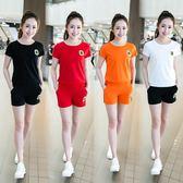 韓版大碼修身顯瘦短袖短褲休閑運動套裝兩件套運動服
