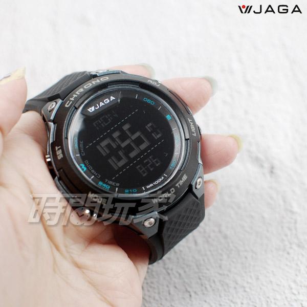 JAGA捷卡 超大液晶顯示 多功能電子錶 夜間冷光 可游泳 保證防水 運動錶 學生錶 M1193-AA(黑黑)