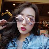 現貨-韓國ulzzang原宿復古太陽鏡女士潮流新款網紅同款眼鏡個性複古墨鏡粉水銀裸粉色超美太陽眼