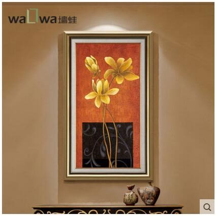 牆蛙玄關裝飾畫豎版走廊過道掛畫歐式客廳畫壁畫餐廳現代大幅油畫