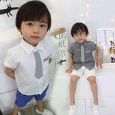 條紋小領帶短袖襯衫 橘魔法Baby magic 現貨 婚禮花童 禮服 西裝 兒童 童裝 男童